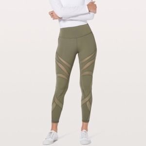 LULULEMON Wunder Under Hi-Rise Tight Mesh Sage